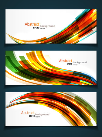 Set of three abstract banners with bright dynamic shapes and copyspaces. EPS10 vector.
