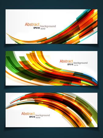 Set van drie abstracte banners met heldere dynamische vormen en copyspaces. EPS10 vector.