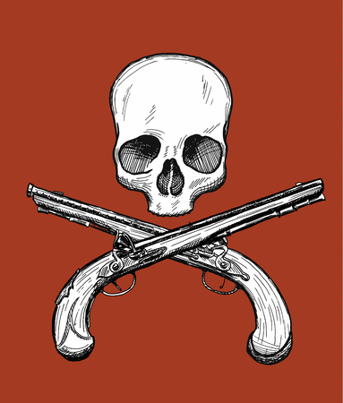 gravure: Hand drawn dead head with two crossed flintlock pistols. Jolly Roger style. Vector drawing. Illustration