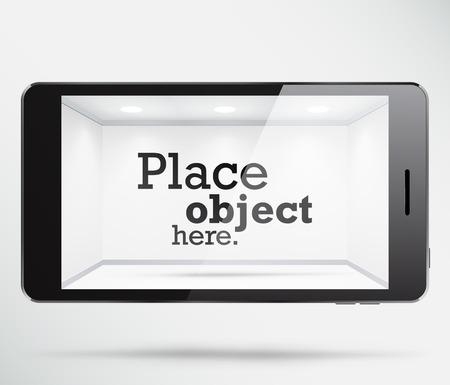 Smartphone met een gratis witte ruimte binnen het scherm, waar een object kan worden geplaatst. EPS10 vector showcase.