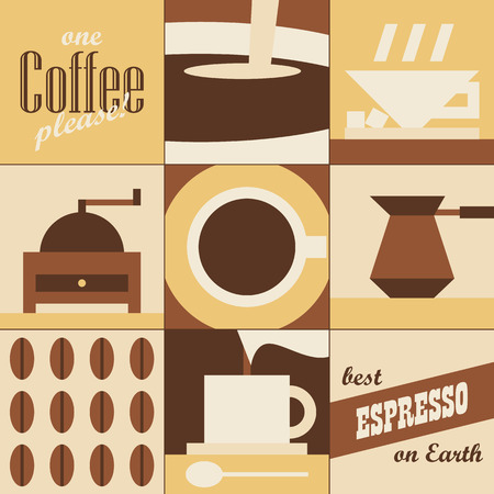 Abstract coffee background. Set of symbolic pictures. Vector