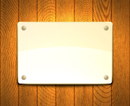 Blank light framework hanging on a wooden wall.  Vector