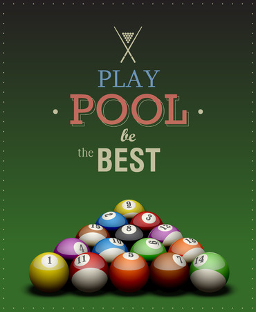 Cool billiard poster. Play Pool be the Best.  Vector