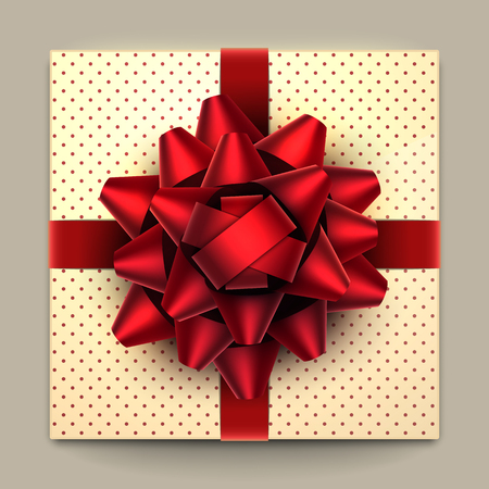 Big red bow on a dotted gift box top view.  Vector