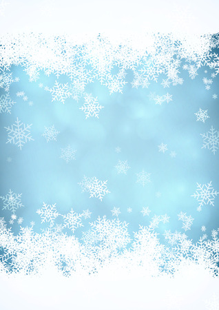 Blue Christmas snow background with snow stripes in the top and bottom.