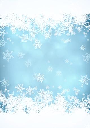 Modré vánoční pozadí sněhu se sněhové pruhy v horní a dolní části.