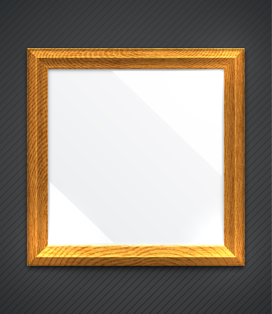photo realism: Empty realistic square wooden photo frame on wall. Illustration