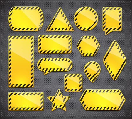 Set of yellow realistic warning signs of different shapes with copyspaces. Stock Vector - 27321009