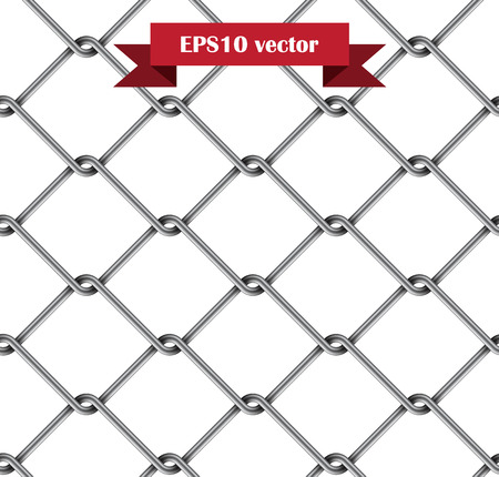 chain fence: Seamless metal rabitz mesh isolated on white.