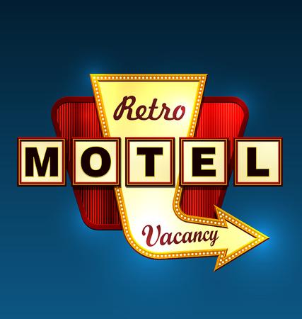 Retro motel road sign with an arrow.  Vector