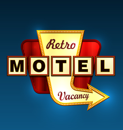 holidays vacancy: Retro motel road sign with an arrow.