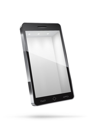 store front: Realistic smartphone isolated on white with empty space inside.