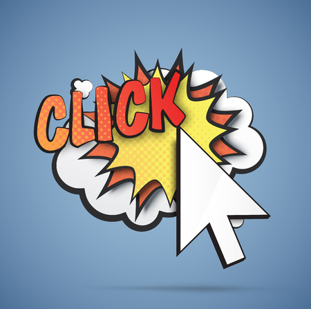 click here: Comic blast with a cursor. Illustration of a click.  Illustration