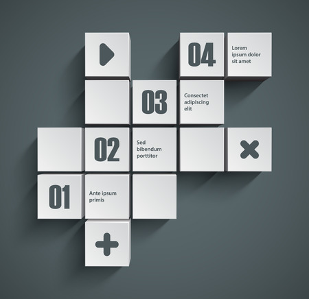 navigation object: Abstract squares background. Good interface of inforgraphic template.