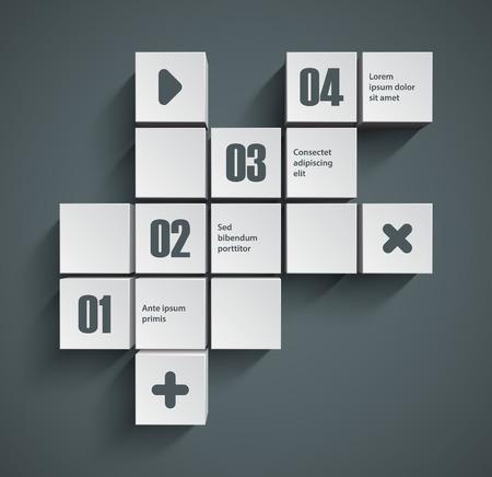 objetos cuadrados: El extracto ajusta el fondo. Buena interfaz de plantilla inforgraphic.