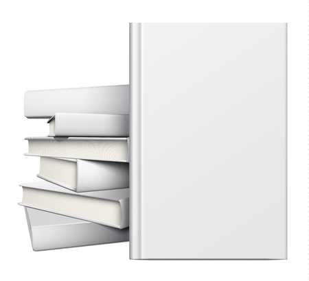pile of papers: Blank book cover over a pile of white books isolated on white.  Illustration