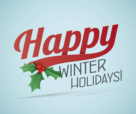 winter holidays: Retro style calligraphic Christmas poster. Happy winter holidays.