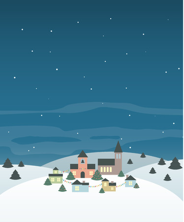 Cute little town in the hills in winter. Cool Christmas background.  Vector