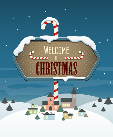 Welcome to Christmas banner hanging above a small town. Vector