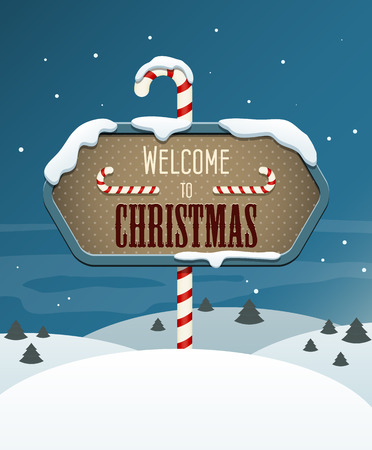 north pole sign: Welcome to Christmas sign in the winter landscape.