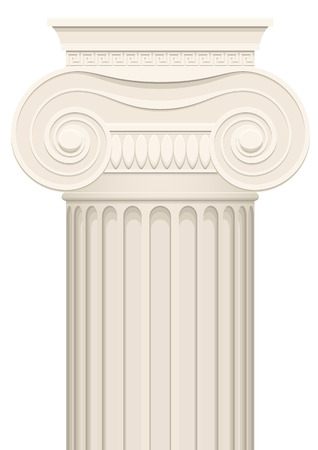 doric: Greek column, simple clip-art graphic. Isolated on white.