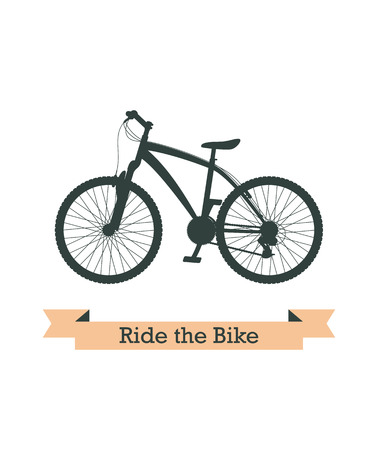 bycicle: Black realistic mountain bicycle silhouette. Vector image.