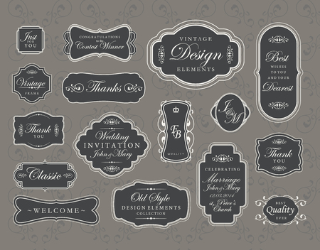 Set of vintage swirly frames. Vector design elements. Vector