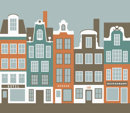 Row of amsterdam style old european narrow houses. Simple vector graphic. Vector