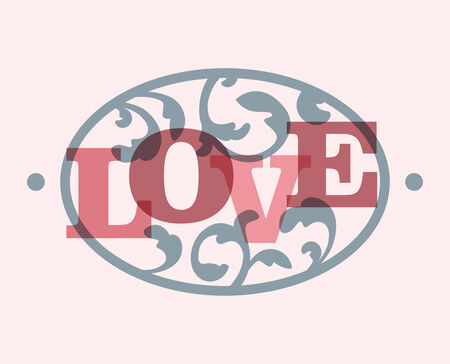 elipsy: The word LOVE in a swirly ellipse frame. EPS10 vector.