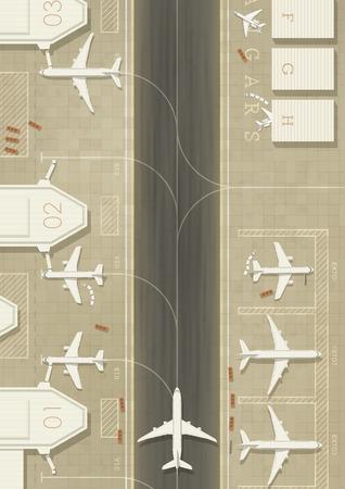 Bovenaanzicht van een luchthaven met 3 soorten vliegtuigen. Eenvoudige vlakke grafische. EPS10 vector afbeelding.