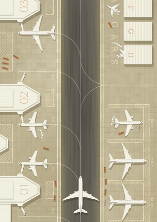 hangar: Top view of an airport with 3 types of planes. Simple flat graphic. EPS10 vector image.