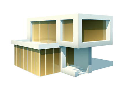 luxury house exterior: Modern two-storied house exterior with large windows isolated on white. EPS10 vector image.
