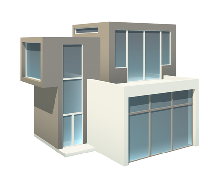 storied: Modern two-storied house exterior with large windows isolated on white. EPS10 vector image.
