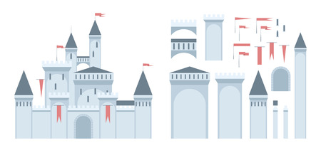 European medieval castle construction set. Sample castle shows what can be assembled from the given parts. EPS8 vector.