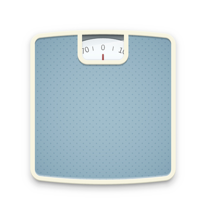 analog weight scale: Blue scales isolated on white. EPS10 vector. Illustration