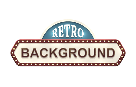marquee sign: Retro sign with two copyspaces isolated on white. EPS10 vector image.