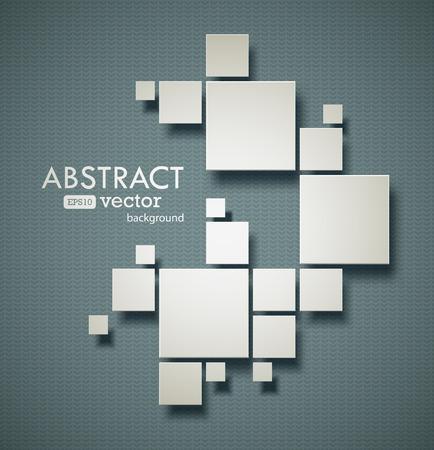リアルな影と抽象的な正方形の背景。EPS10 ベクトル画像。  イラスト・ベクター素材