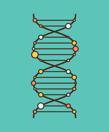 dna strand: Simple flat graphic DNA spiral. EPS8 vector illustration, Illustration