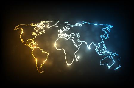Gloeiende wereldkaart. Gloeiende contouren van de continenten op donkere achtergrond. EPS10 vector afbeelding.