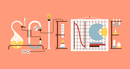 science scientific: Science word made up from chemical tubes, graphs and racks. Flat graphic.