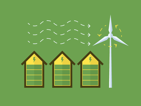 row of houses: Row of eco houses using wind energy. Vector conceptual image.