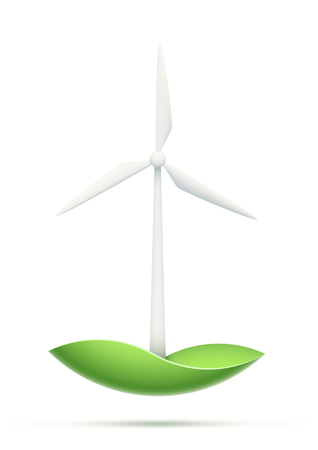 electricity generator: Conceptual image of a windmill electricity generator. Green technology design. EPS10 vector image. Illustration