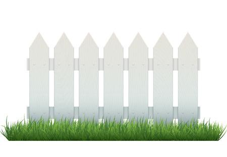 Ripetibile staccionata in legno bianco su erba, isolato su bianco. Oggetto vettoriale realistico. EPS10 illustrazione vettoriale. Vettoriali