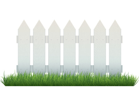 Repeatable white wooden fence on grass, isolated on white. Realistic vector object. EPS10 vector illustration.
