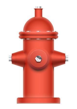 borne fontaine: Red bouche d'incendie isolé sur blanc. EPS10 vecteur objet réaliste.