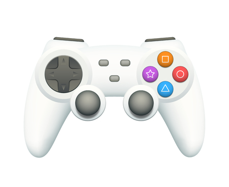 gamepad: Cool white gamepad with colorful buttons isolated on white. EPS10 vector illustration.
