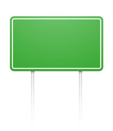 Green blank rectangular roadsign isolated on white. EPS10 vector image. Illustration