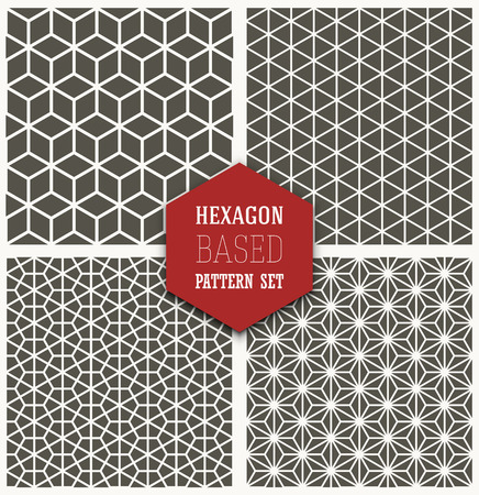 Set of four simple vector hexagon-based simple patterns. Vector