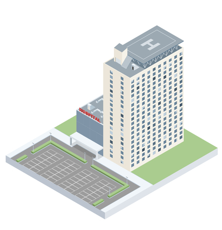 building lot: Isometric hospital with a heliport and a parking lot. EPS10 vector image.