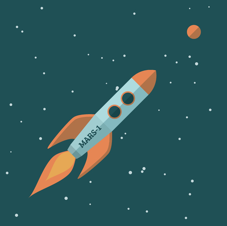 colonization: Simple flat illustration of a rocket flying to Mars. EPS10 vector image.
